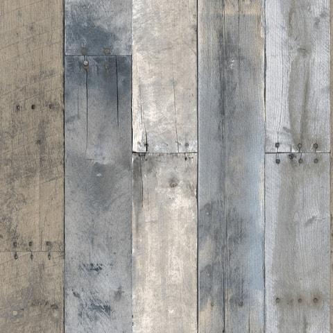 Repurposed Wood Multi-Color Peel and Stick Wallpaper