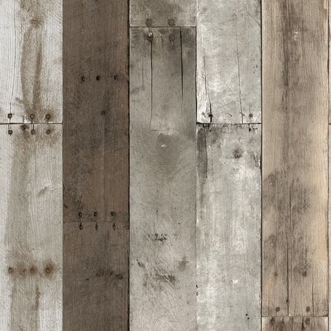 Repurposed Wood Weathered Peel and Stick Wallpaper