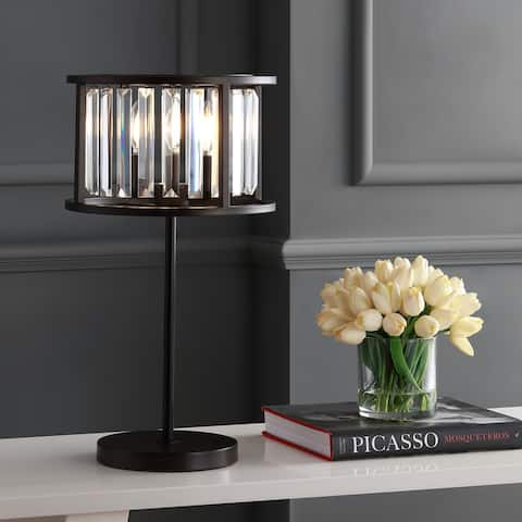 """Bevin 21.5"""" Metal/Crystal LED Table Lamp, Oil Rubbed Bronze/Crystal by JONATHAN Y"""