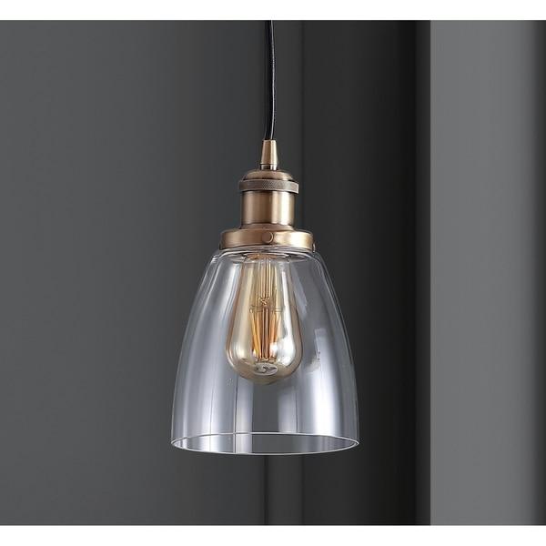 JONATHAN Y Cleo Adjustable Gold-toned Metal/Glass Brass-finished LED Pendant Light