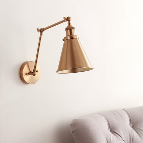 """Rover 7"""" Adjustable Arm Metal LED Wall Sconce, Brass by JONATHAN Y"""