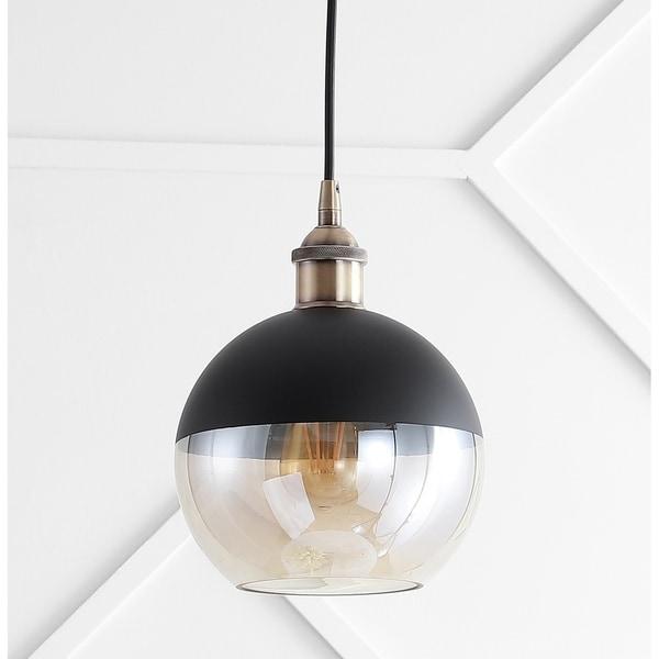 "Nixon 7.5"" Adjustable Drop Globe Metal/Glass LED Pendant, Brass Gold/Black by JONATHAN Y"