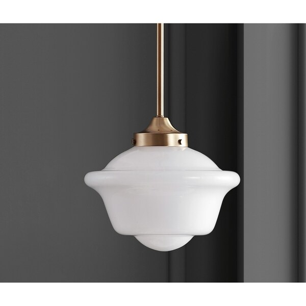 JONATHAN Y Kurtz Goldtone Brass/White Glass 9.5-inch Adjustable-drop LED Pendant