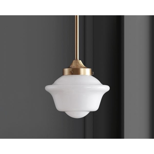"Kurtz 7.2"" Adjustable Drop Metal/Glass LED Pendant, Brass Gold by JONATHAN Y"