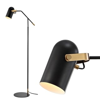 "Eugenio 58.5"" Metal LED Floor Lamp, Black/Brass Gold by JONATHAN  Y"