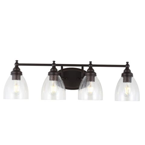"""Marais 30"""" 4-Light Metal/Glass LED Wall Sconce, Oil Rubbed Bronze by JONATHAN Y"""