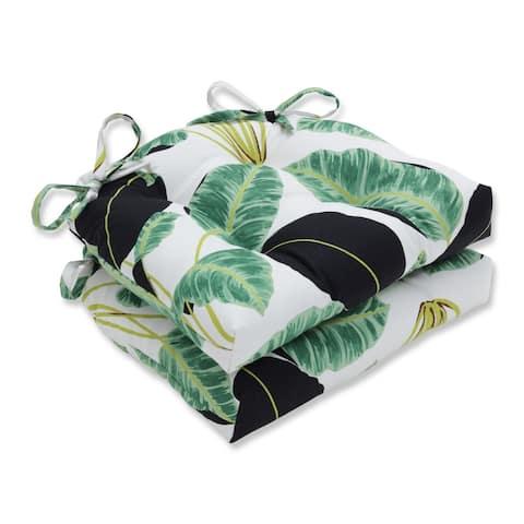 Pillow Perfect Indoor Hojas Cubanas Rainforest Black Reversible Chair Pad (Set of 2)