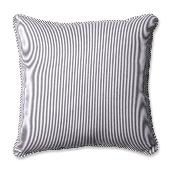 Pillow Perfect Farmhouse Oxford Charcoal Stripe 16.5-inch Throw Pillow