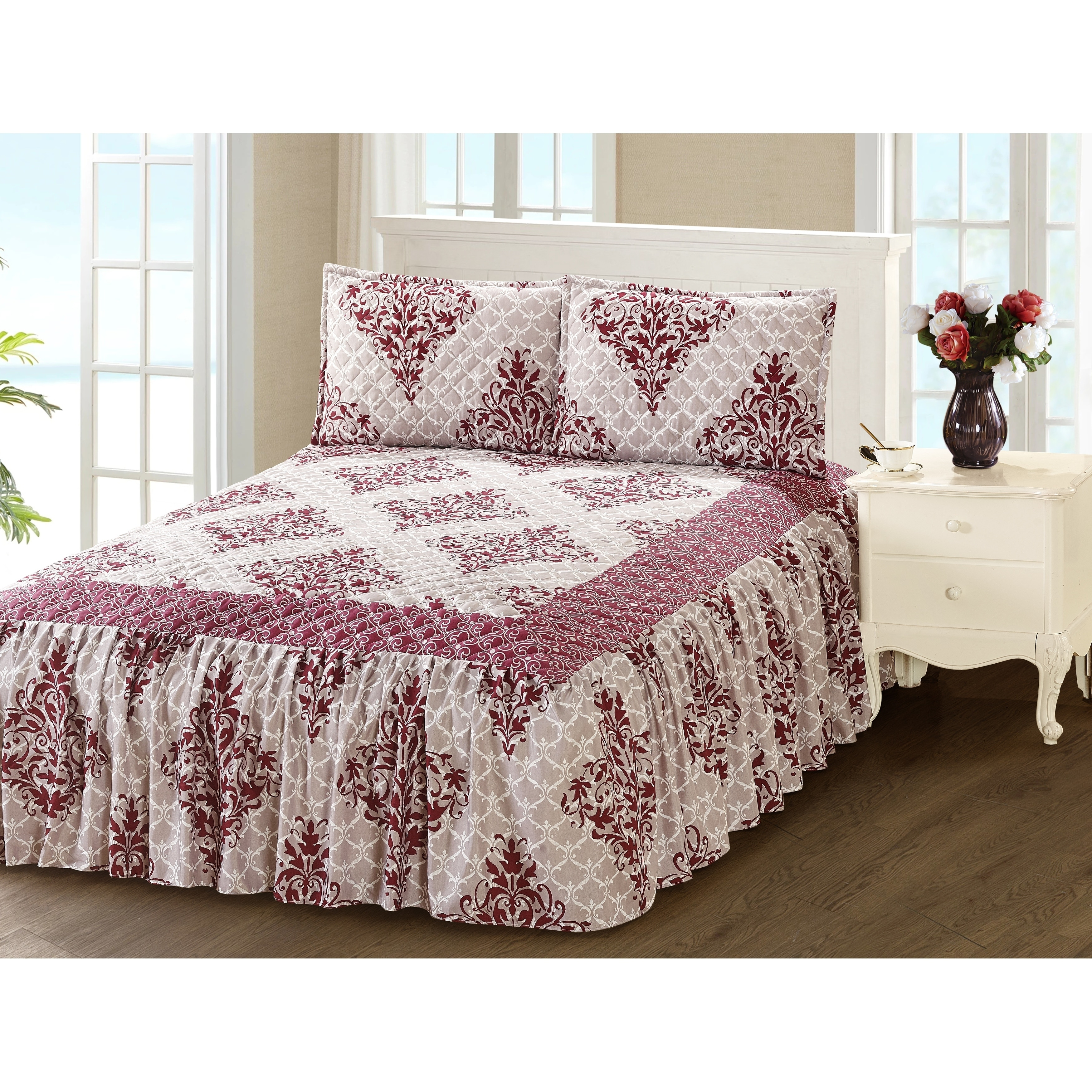 Khloe 3 Piece Bedspread Set With Attached Bed Skirt Maroon Damask