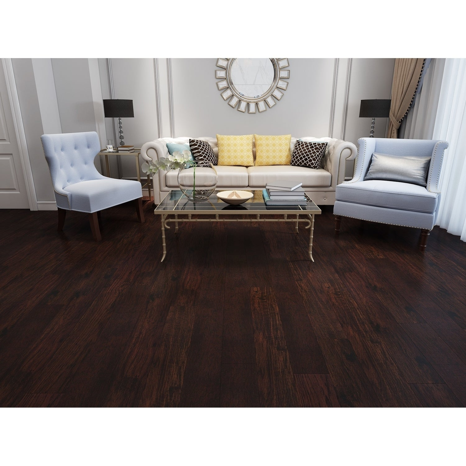 Dark Chocolate Engineered Hickory Wood Flooring 20 02 Sq Ft Carton