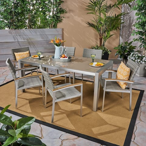 Luton Outdoor Aluminum 7 Piece Dining Set with Glass Table Top by Christopher Knight Home