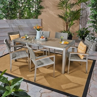Link to Luton Outdoor Aluminum 7 Piece Dining Set with Glass Table Top by Christopher Knight Home Similar Items in Patio Furniture
