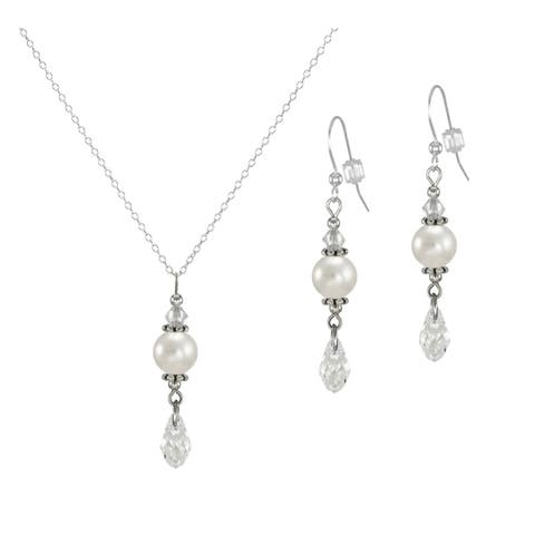 Handmade Jewelry by Dawn Pearl and Crystal Moonlight Briolette Necklace and Earring Set (USA)