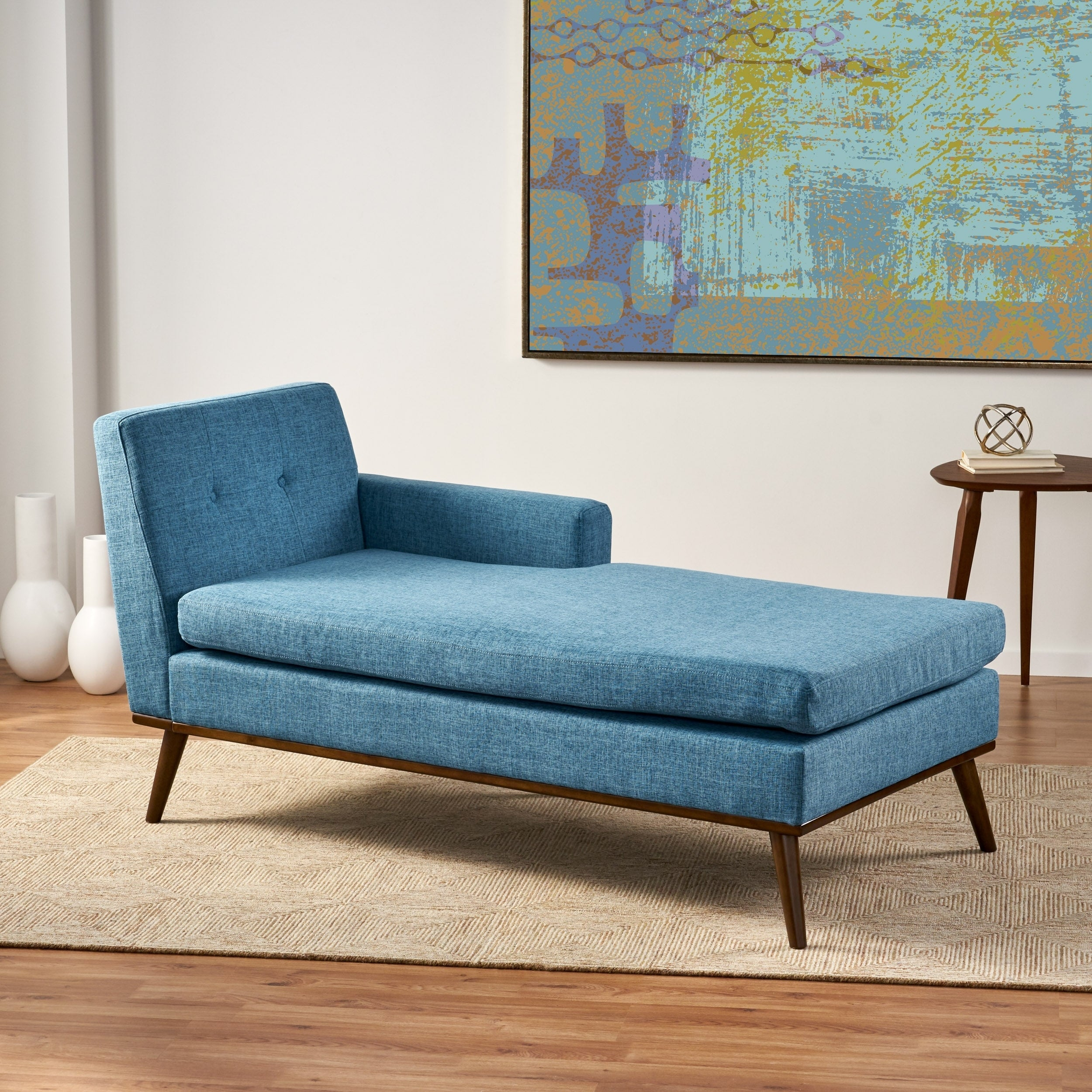 Shop Black Friday Deals On Stormi Mid Century Modern Tufted Chaise Lounge By Christopher Knight Home On Sale Overstock 27543982 Red Walnut
