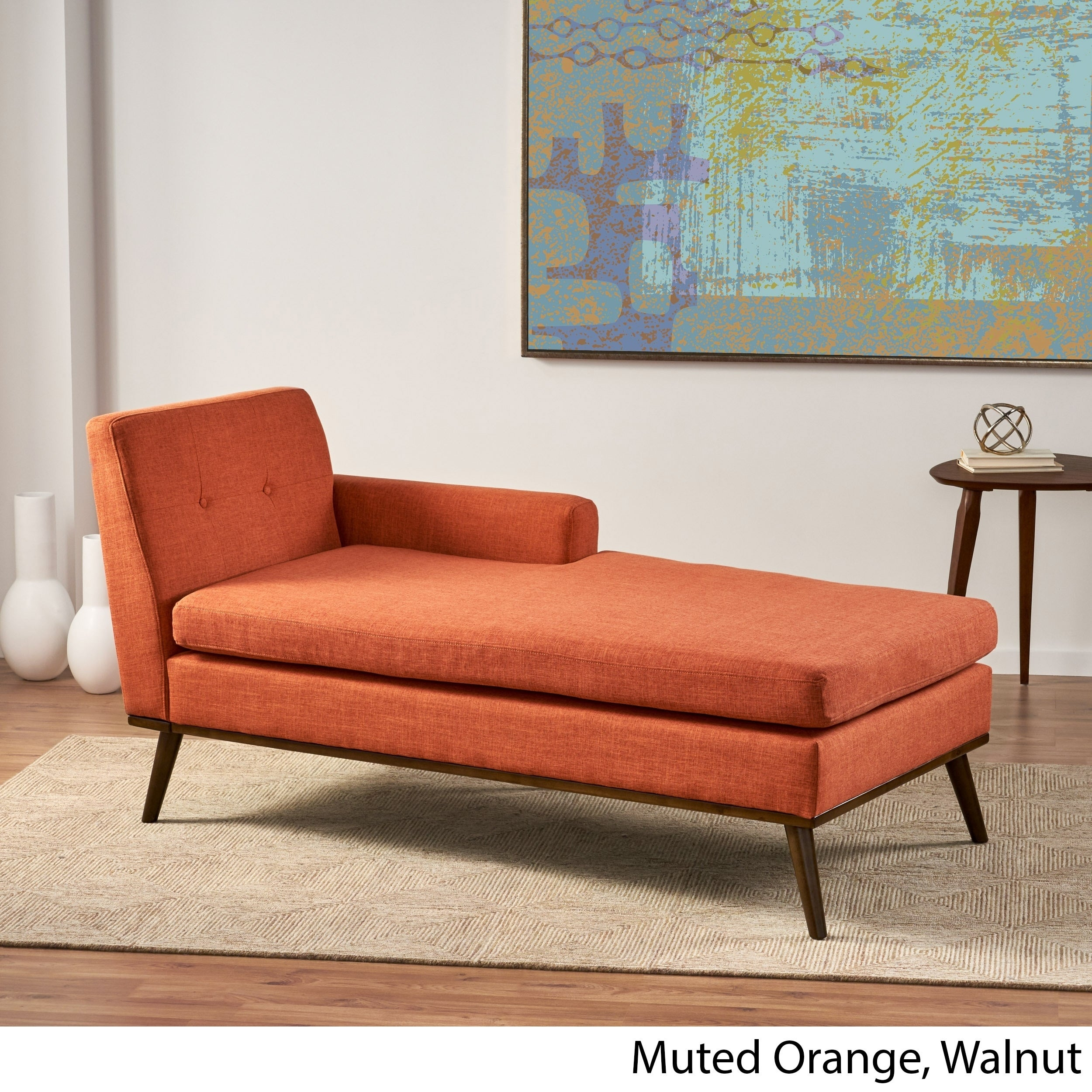 Stormi Mid-Century Modern Tufted Chaise Lounge by Christopher Knight Home