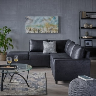 Avellino Hidden Storage Compartments Microfiber Chaise Sectional Sofa Set by Christopher Knight Home