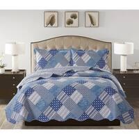 Jennifer - 3 Piece Reversible Quilt Set and shams - Blue Patch