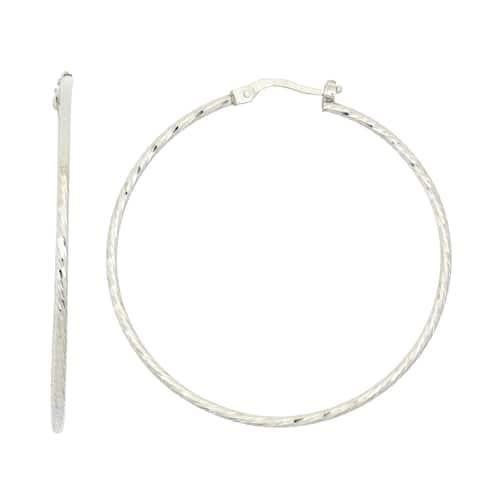 Isla Simone Sterling Silver 40MM Fancy Cut Hoop Earring