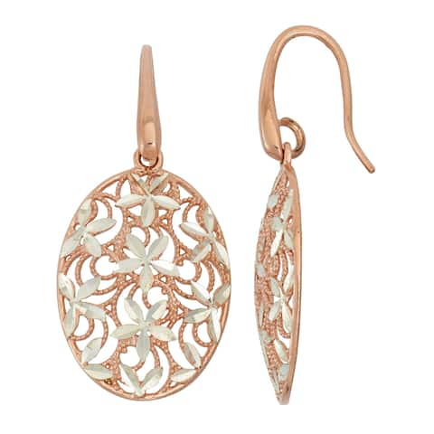 Isla Simone Sterling Silver Oval Earring with Flowers