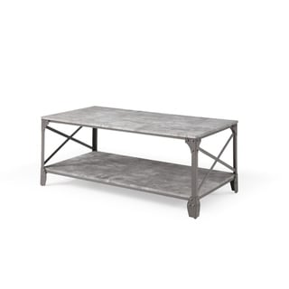 Hodedah 47.2 inch Wide Grey 2 Tier Coffee Table