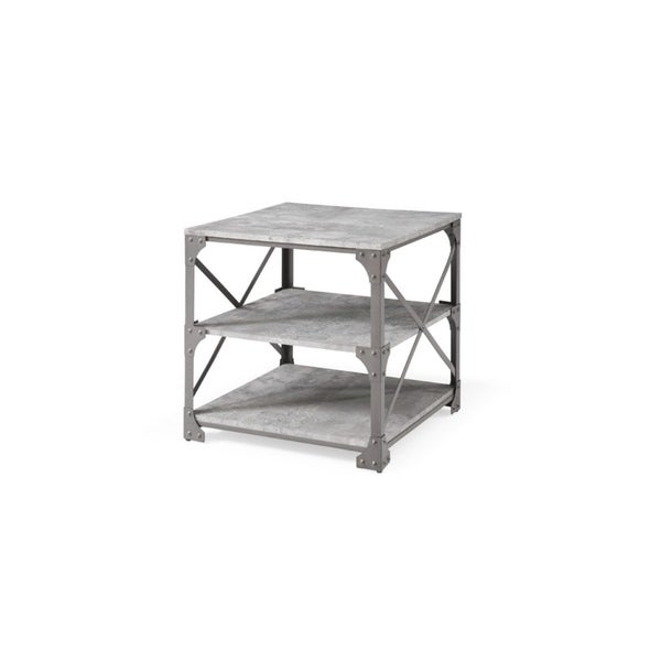 Hodedah 23.6 inch Wide 3 Tier Grey End Table