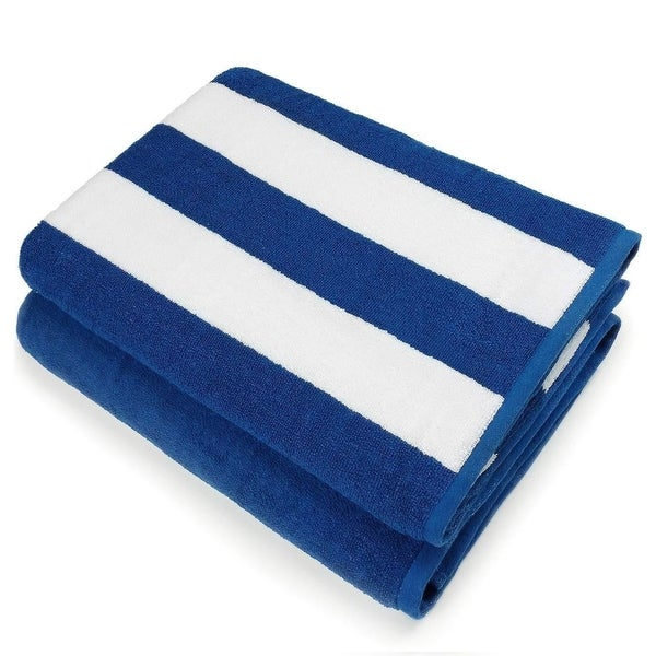 """Kaufman - Oversized 35"""" X 70"""" Cabana Stripe Terry, Super soft Beach and Pool Towel Set of 2 pieces . Large (2, Blue)"""