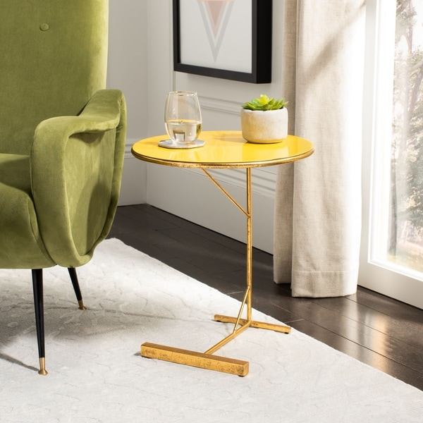 "Safavieh Sionne Round C Table - Yellow / Gold - 16"" x 16"" x 18.5"""