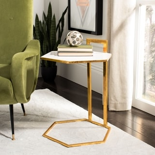 "Safavieh Mirasol Hexagon C Table - White / Gold - 16"" x 18"" x 23.5"""