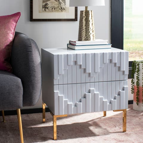 Safavieh Couture Alessa Zigzag Side Table - Grey / Gold - 21.6 In W x 16.14 In D x 21.65 In H