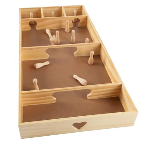Hey! Play! Portable Indoor or Outdoor Desktop Pinewood Competition Board Game Tabletop Skittles Game