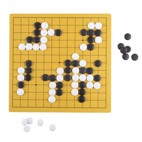 Go Board Game Set - Beginner's Two Player Strategy Game with Reversible Board and Melamine Pieces by Hey! Play!