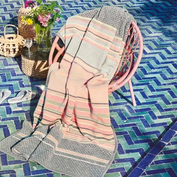 IBENA Jacquard Pink Throw Blanket Kediri