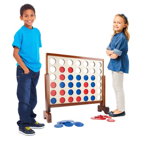 """4-In-A-Row--Giant Wooden Indoor/Outdoor Game- 2 Player Strategy and Skill Fun Backyard Lawn by Hey! Play! - 33"""" x 8"""" x 29"""""""