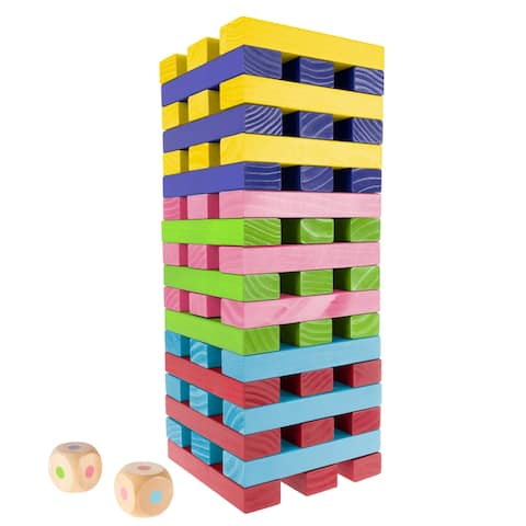 Nontraditional Giant Wooden Blocks Tower Stacking Game with Dice, Outdoor Yard Game by Hey! Play! (Rainbow Color)