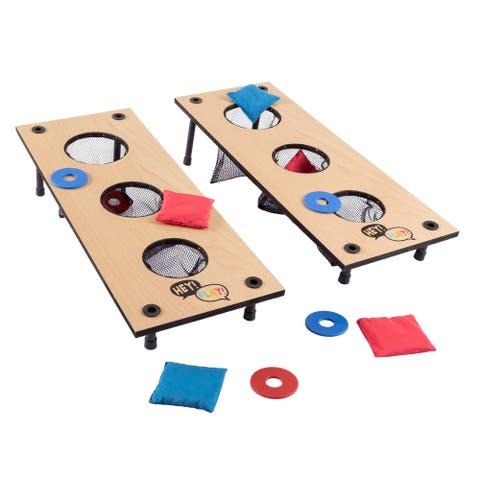 2-in-1 Washer Pitch and Beanbag Toss Set- Indoor/Outdoor Wooden Backyard/Tailgate Party Games by Hey! Play!
