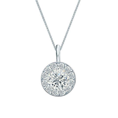 Ethical Sparkle 1ctw Round Lab Created Halo Diamond Necklace 14k Gold