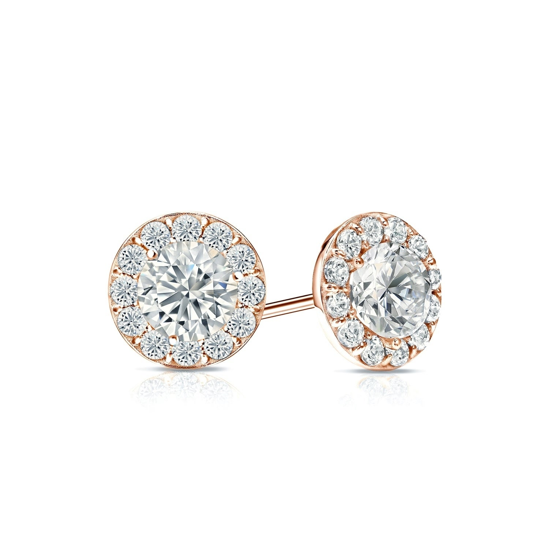 1CT Cushion /& Round Created Diamond Halo Earrings 14K White Gold Studs Screwback