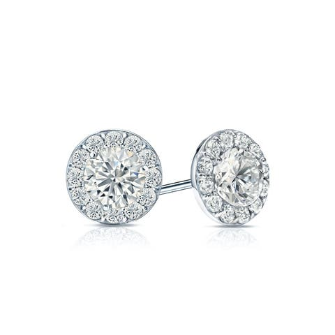 Ethical Sparkle 1ctw Round Lab Grown Diamond Halo Stud Earrings 14k Gold