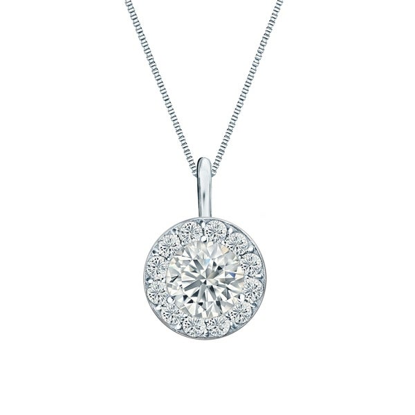 14k Gold Round 1/4ct TDW Diamond Halo Necklace by Ethical Sparkle