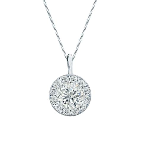 Ethical Sparkle 1/2ctw Round Lab Created Halo Diamond Necklace 14k Gold