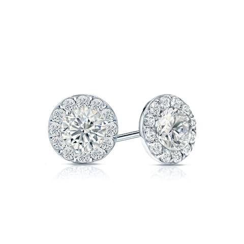 Ethical Sparkle 2ctw Round Lab Grown Diamond Halo Stud Earrings 14k Gold