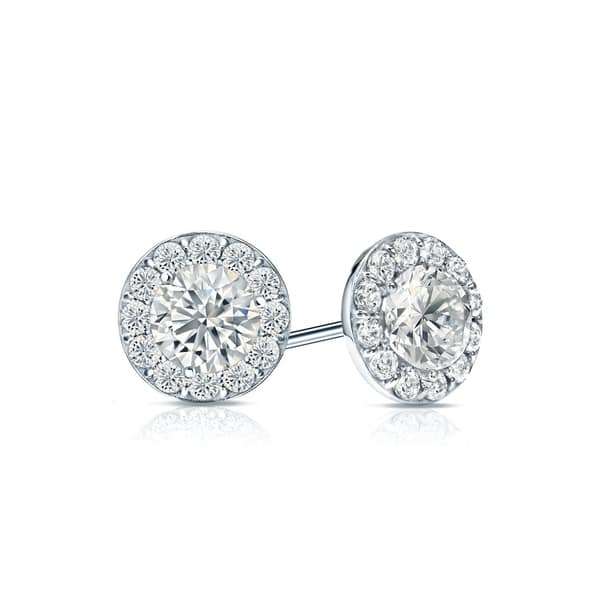 027842649a1fe Shop Ethical Sparkle 1/2ctw Round Lab Created Halo Diamond Stud ...