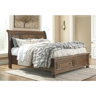 Flynnter Medium Brown Sleigh Storage Bed. (Queen) -  Signature Design by Ashley
