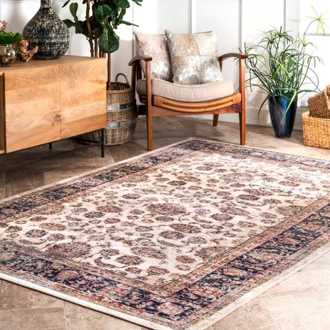 Copper Grove Sanskimost Cream Floral Bordered Area Rug