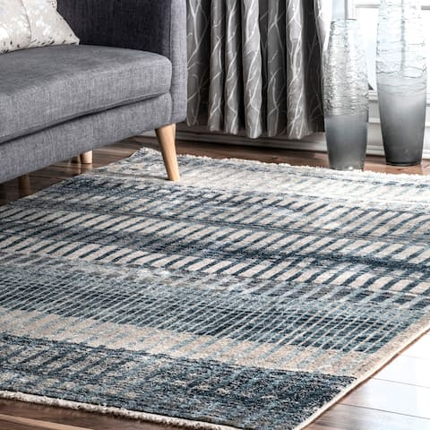 Copper Grove Mostar Blocks and Stripes Fringe Area Rug