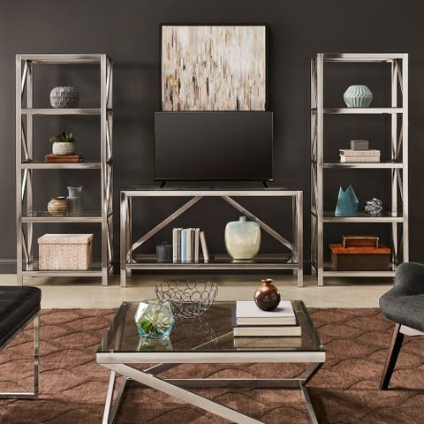 Copper Grove Valkeakoski Brushed Nickel Entertainment Center