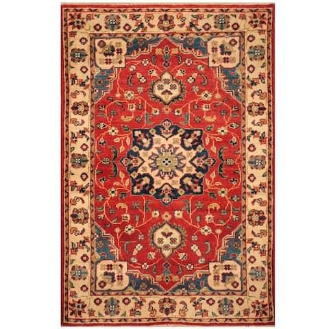 Handmade One-of-a-Kind Kazak Wool Rug (Afghanistan) - 2'8 x 4'