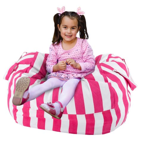 Hey! Play! Pink/White Cotton Canvas Striped Beanbag Style Toddler Lounge Seat, Blanket, and Pillow Organizer
