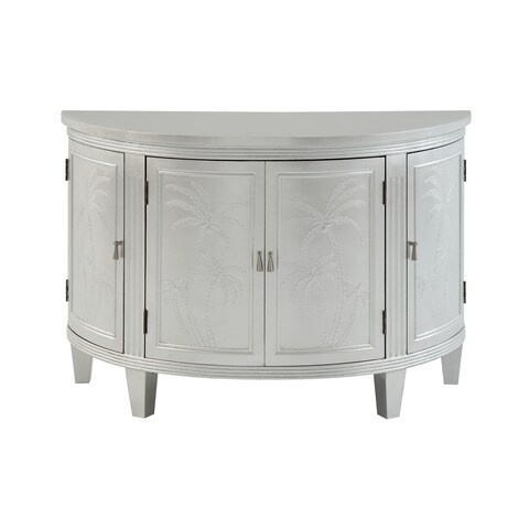 Christopher Knight Home Demilune Glossy Silver Wood 4-door Glam Credenza