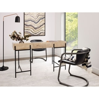 Aurelle Home White and Black Wood and Iron Industrial Desk